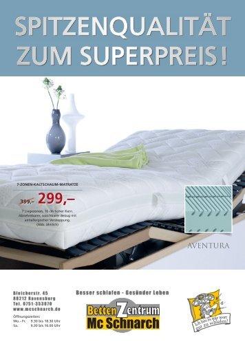 Spitzenqualität zum Superpreis - BettenZentrum McSchnarch Ravensburg