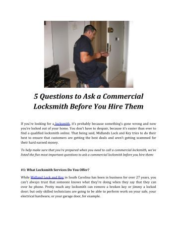 5 Questions to Ask a Commercial Locksmith Before You Hire Them