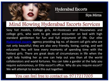 Mind Blowing Hyderabad Escorts Services