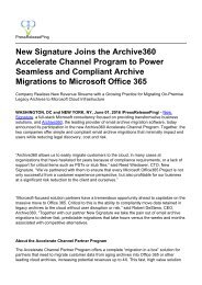 New Signature Joins the Archive360 Accelerate Channel Program to Power Seamless and Compliant Archive Migrations to Microsoft Office 365