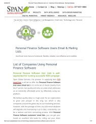 Get Tele Verified Personal Finance Software Customer Lists from Span Global Services