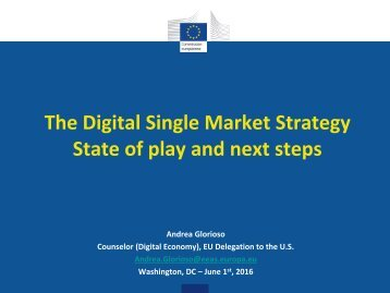 The Digital Single Market Strategy State of play and next steps