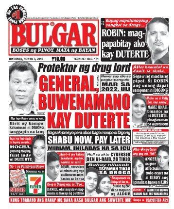June 3, 2016 BULGAR: BOSES NG PINOY, MATA NG BAYAN
