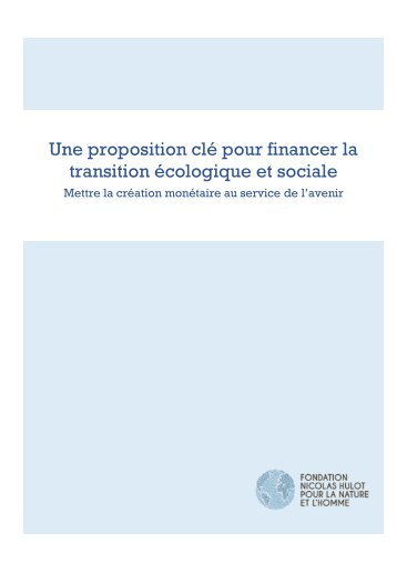 Une proposition clé pour financer la transition écologique et sociale