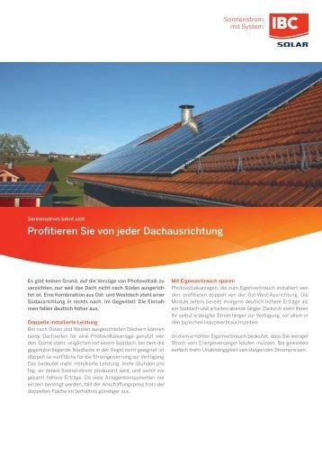 Photovoltaikanlagen für Dächer mit Ost-West Ausrichtung