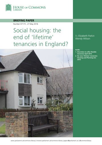 Social housing the end of 'lifetime' tenancies in England?