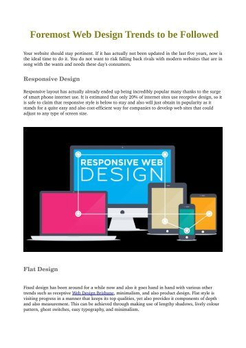 Foremost Web Design Trends to be Followed