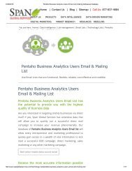 Buy Pentaho Business Analytics Customer Lists from Span Global Services