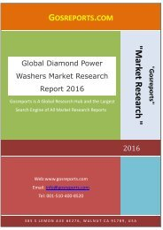 Global Diamond Power Washers Market Research Report 2016