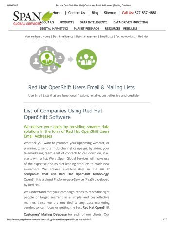 Get Red Hat OpenShift Software Customer Lists from Span Global Services