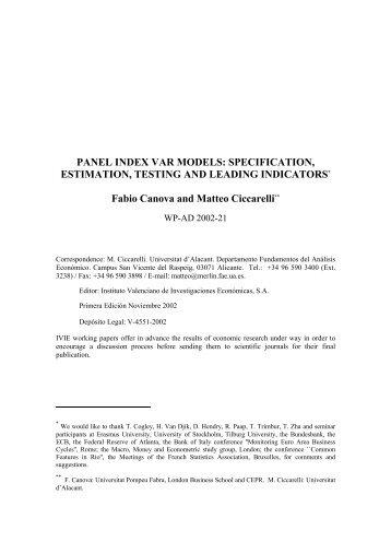 PANEL INDEX VAR MODELS: SPECIFICATION, ESTIMATION - Ivie