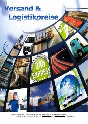 Versand und Logistikpreise 2016