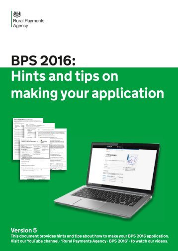 Hints and tips on making your application