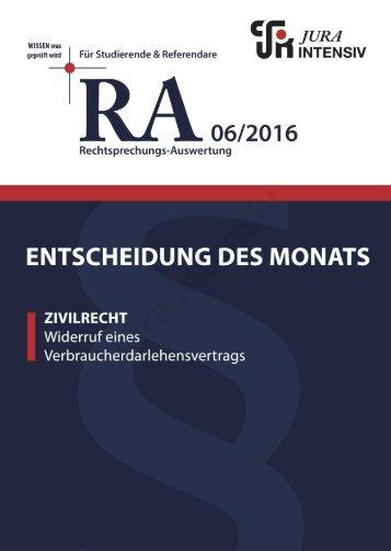 RA 06/2016 - Entscheidung des Monats