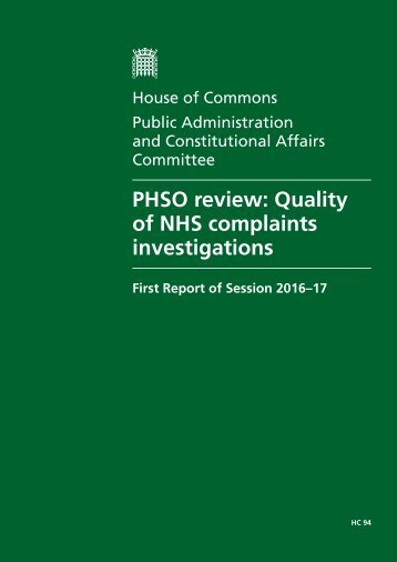 PHSO review Quality of NHS complaints investigations