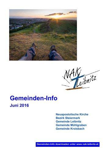 Gemeindeinfo Juni-Juli 2016