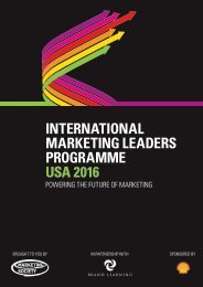 INTERNATIONAL MARKETING LEADERS PROGRAMME USA 2016