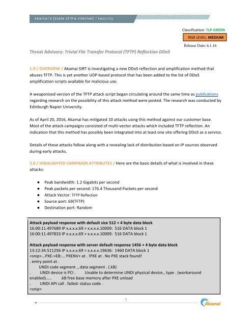 Threat Advisory Trivial File Transfer Protocol (TFTP