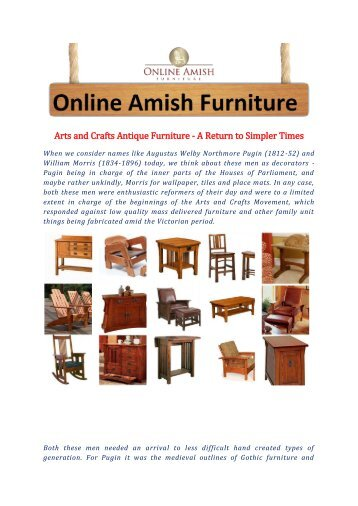 Arts and Crafts Antique Furniture - A Return to Simpler Times