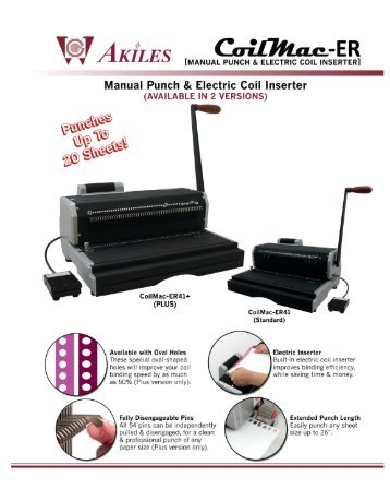 Manual Punch, Electric Coil Inserter CoilMac-ER by Printfinish.com