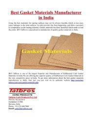Best Gasket Materials Manufacturers in India