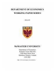 DEPARTMENT OF ECONOMICS WORKING PAPER SERIES McMASTER UNIVERSITY