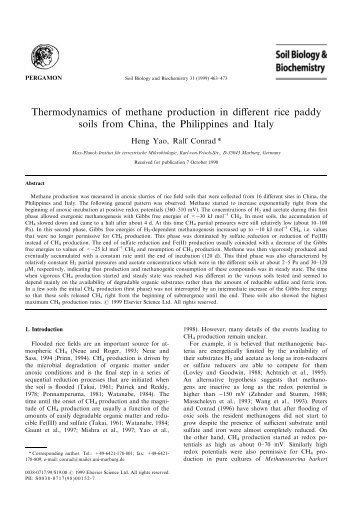 Yao und Conrad - 1999 - Thermodynamics of methane production in different