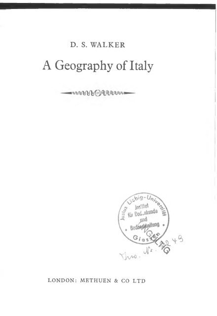 Walker - 1967 - A geography of Italy
