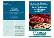 Summer 2012 Classes - Northeast Wisconsin Technical College