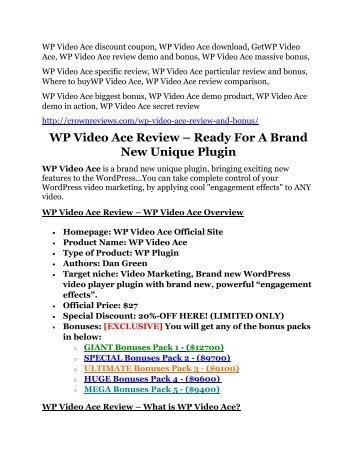 WP Video Ace review demo and premium bonus