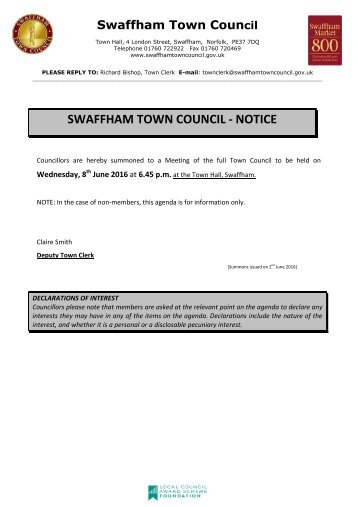 SWAFFHAM TOWN COUNCIL - NOTICE
