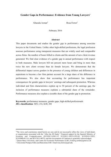 Gender Gaps in Performance Evidence from Young Lawyers
