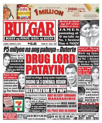 June 6, 2016 BULGAR: BOSES NG PINOY, MATA NG BAYAN