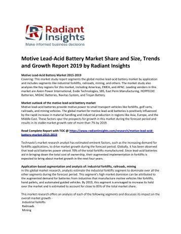 Motive Lead-Acid Battery Market Growth And Forecast Report To 2019: Radiant Insights, Inc