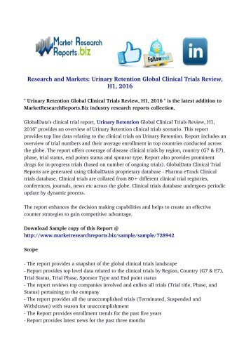 Urinary Retention Global Clinical Trials Review, H1, 2016