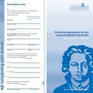 w w w .u n i-fran kfu rt.d e - Goethe-Universität