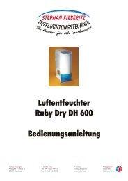 mobiler Luftentfeuchter Ruby Dry DH 600 - Fieberitz