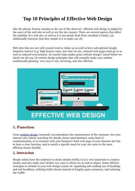Top 10 Principles Of Effective Web Design
