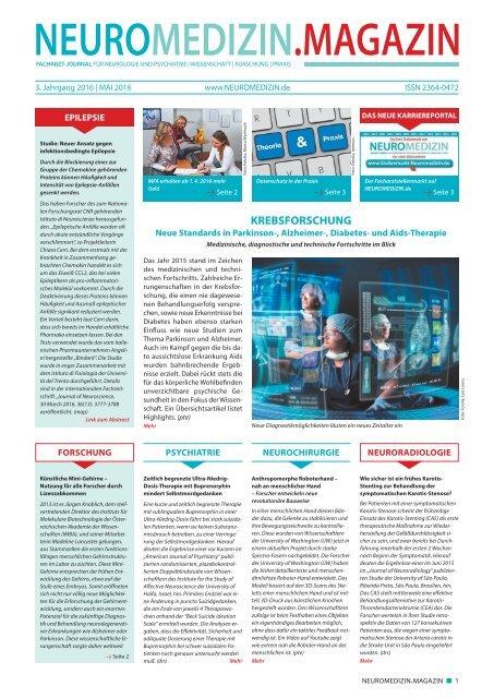 NEUROMEDIZIN.de.MAGAZIN E-Paper-Ausgabe Mai-2016 mit Stellenmarkt