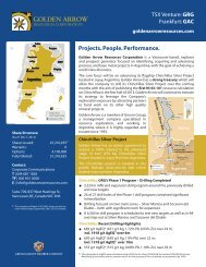 Fact Sheet - Golden Arrow Resources Corporation