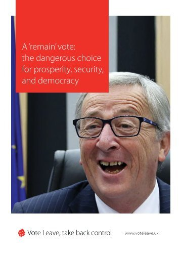 A 'remain' vote the dangerous choice for prosperity security and democracy