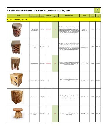 Bhome catalog wholesale stools