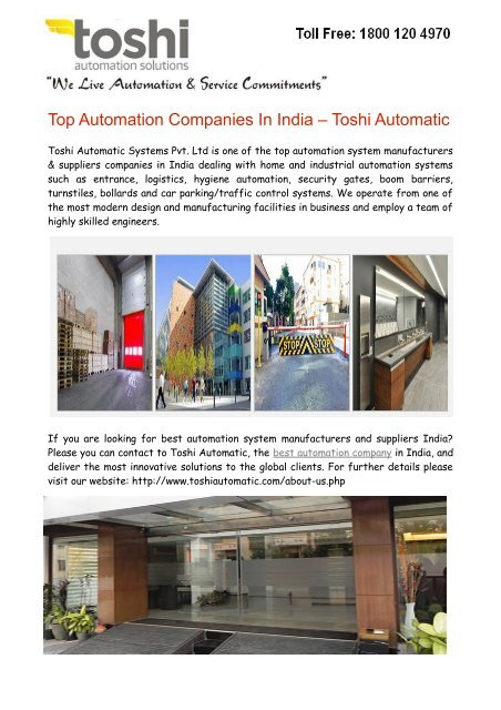 Top Automation Companies In India Toshi Automatic