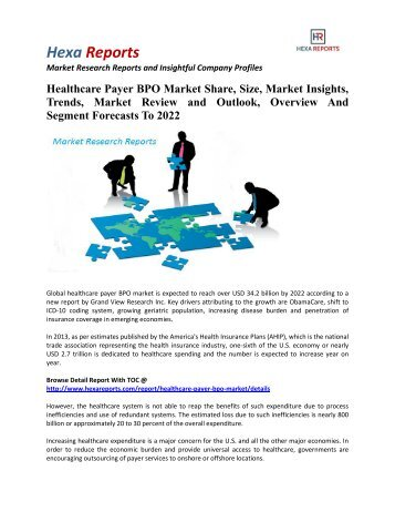 Healthcare Payer BPO Market Share, Size And Overview To 2022: Hexa Reports