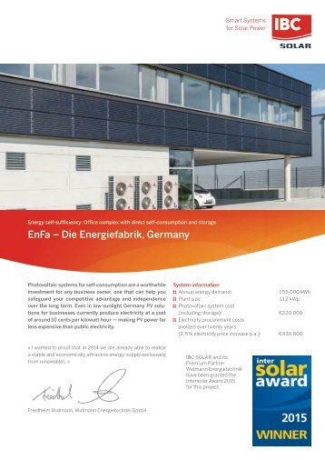 Energiefabrik (EnFa): Office complex with photovoltaic system for direct self-consumption and storage