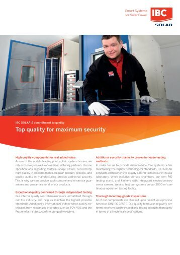 IBC SOLAR´s commitment to quality: Top quality for maximum security