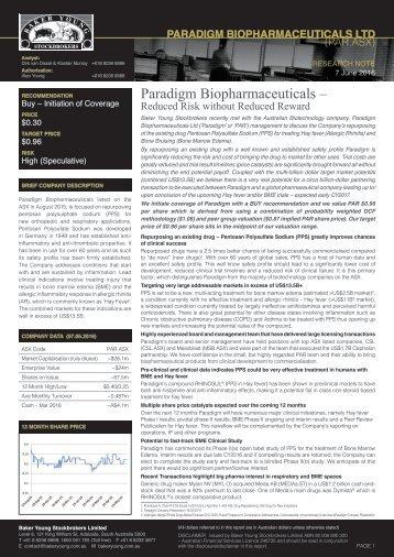 Paradigm Biopharmaceuticals –