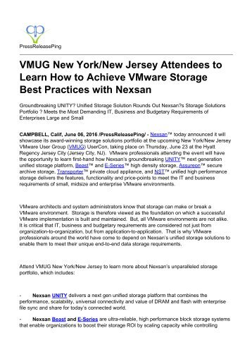 VMUG New YorkNew Jersey Attendees to Learn How to Achieve VMware Storage Best Practices with Nexsan
