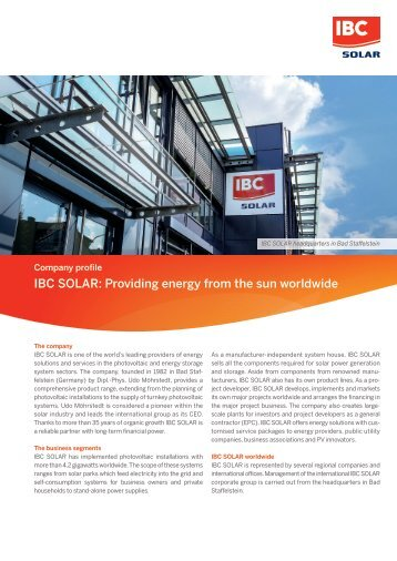 IBC SOLAR: Providing energy from the sun worldwide