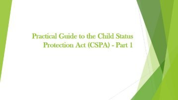 Guide to the Child Status Protection Act (CSPA)
